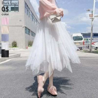 チュールスカート スカート ロング レディース aライン フレア チュチュ ひざ下丈 おしゃれ かわいい 春新作 sk2003-2133