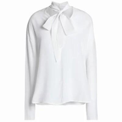 サンドロ ブラウス・シャツ Pompa pussy-bow silk crepe de chine blouse Off-white