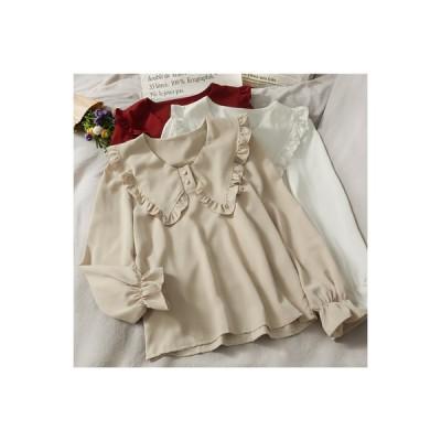 【送料無料】秋と冬 キクラゲなようなエッジ 襟 スピーカースリーブ 無地のシャツ 女 新しいデザイン | 346770_A64509-0185683