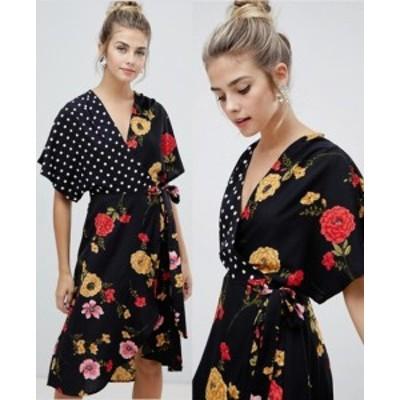 エイソス ASOS 和風 半袖 スリーブラップワンピース ドレス 送料無料 レディース ファッション