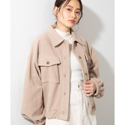ジャケット ブルゾン WEGO/ビッグシルエットフリースショートドロストCPOシャツジャケット