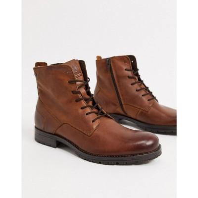 ジャック アンド ジョーンズ Jack & Jones メンズ ブーツ レースアップブーツ シューズ・靴 leather lace up boot in brown コニャック