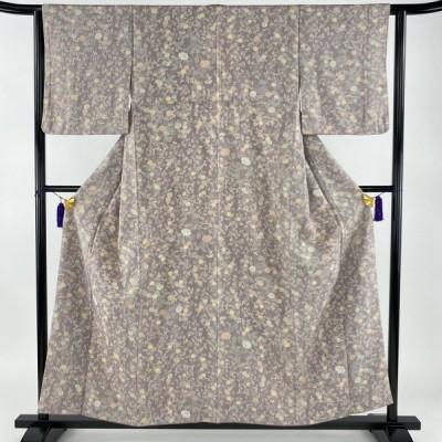 在庫一掃 小紋 美品 秀品 菊 萩 薄紫 袷 身丈156cm 裄丈62cm S 正絹 中古