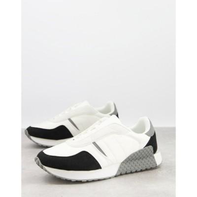 エイソス ASOS DESIGN メンズ スニーカー シューズ・靴 trainers in mixed materials with feature sole グレー