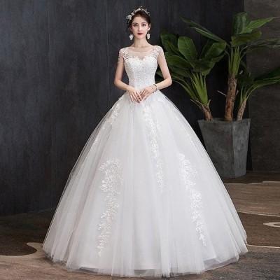 新作 ウエディングドレス Aライン ドレス レディース 白 刺繍 花嫁 大きいサイズ ロング丈 姫系 結婚式 披露宴 新婦 エンパイアライン