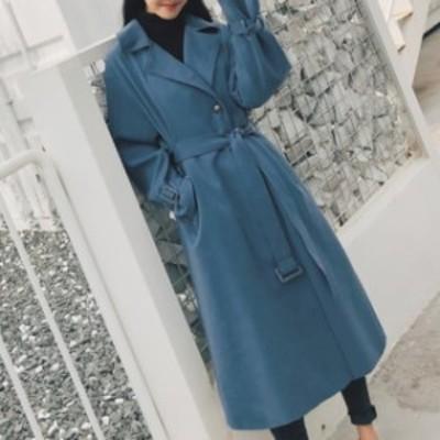 レディース 秋冬 コート アウター ロング丈 大きい襟 ウエストベルト 大人女性 お出掛け オフィス 女子会  デート
