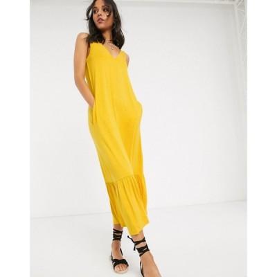 エイソス ASOS Tall レディース ワンピース ティアードドレス ワンピース・ドレス Tall Concealed Pocket Midi Dress With Tiered Hem In Yellow イエロー