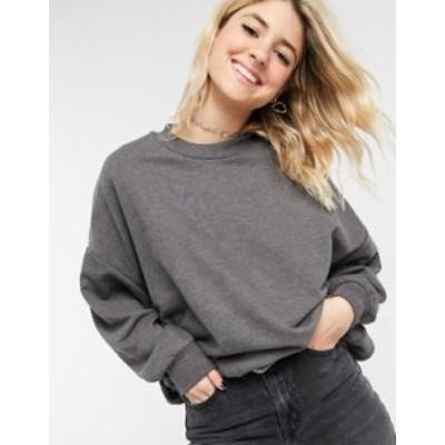 エイソス レディース シャツ トップス ASOS DESIGN oversized cozy cocoon sweatshirt in charcoal heather Charcoal marl