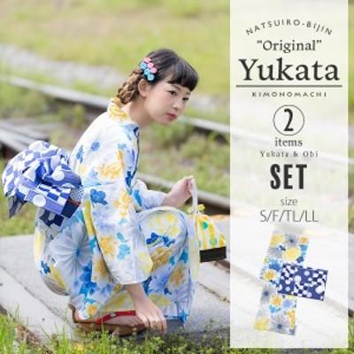 京都きもの町オリジナル 浴衣2点セット「ブルーフラワー」綿 S、F、TL、LL 女性浴衣セットss2006ykl50