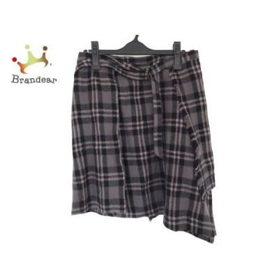コキュ COCUE 巻きスカート サイズ2 M レディース 美品 グレー×黒×マルチ チェック柄/ラメ               スペシャル特価 20200311