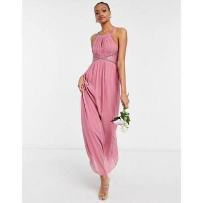 リトルミストレス レディース ワンピース トップス Little Mistress Bridesmaid chiffon maxi dress with embellishment and lace detail in dusky pink