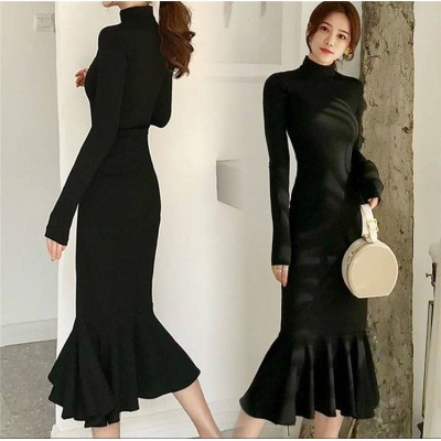 [55555SHOP]新しい 女性のファッション 上品気質 スカート レデイース 秋と冬気質 ハイネック スリムフィット フィッシュテイルマキシドレス 高品質 快適で暖かい スリム 膝上 ボトミングド
