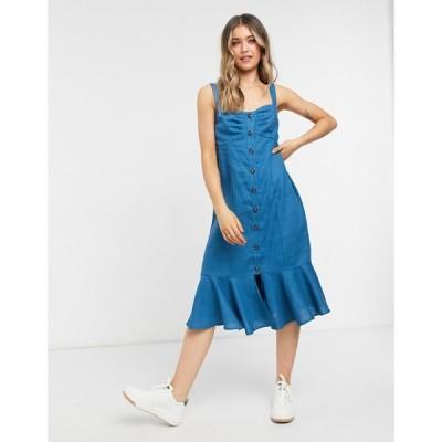 ロリーアンドホリー Lottie And Holly レディース ワンピース ミドル丈 ワンピース・ドレス button through frill hem midi dress in blue ブルー