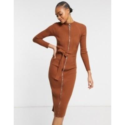 エイソス レディース ワンピース トップス ASOS DESIGN knitted dress with zip through detail in brown Brown