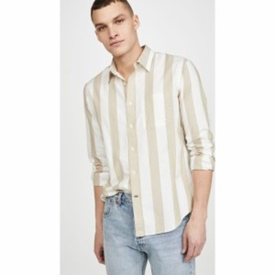 クラブ モナコ Club Monaco メンズ シャツ トップス Long Sleeve Double Striped Shirt White Grnd Stripe