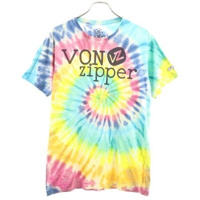 ボンジッパー タイダイ染 ロゴプリント 半袖 Tシャツ M VONZIPPER メンズ 古着 200522 メール便可