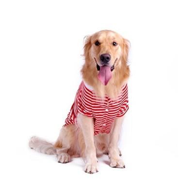 Petroom Dog Striped T-Shirt for Medium Large Dogs,Husky Shirts,Breathable Cotton Dog Vest Red Stripe M【並行輸入品】
