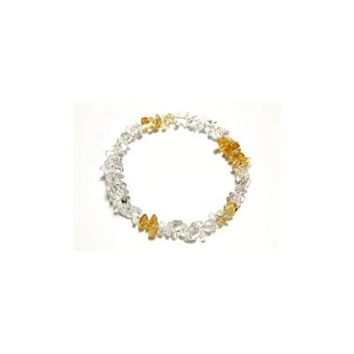 「誠実」な黄色 トパーズ x 水晶 バングル 11月誕生石 パワーストーン バングル フリーサイズ