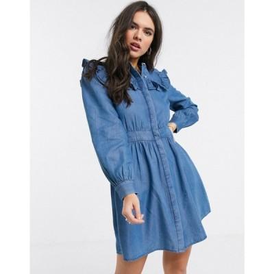 ウェアハウス Warehouse レディース ワンピース ワンピース・ドレス ruffle bib dress blue ブルー