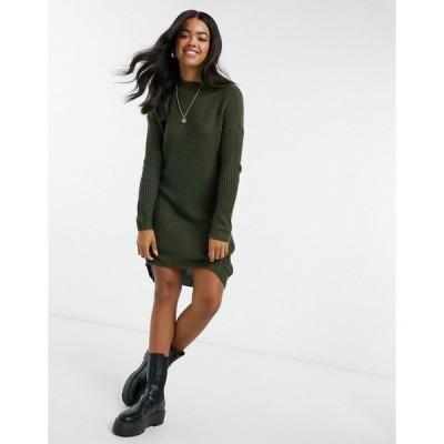 ジャクリーンデヨン ミディドレス レディース JDY knitted midi dress in green エイソス ASOS グリーン 緑