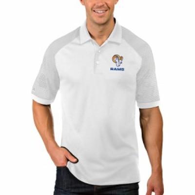 """メンズ ポロシャツ """"Los Angeles Rams"""" Antigua Engage Polo - White/Silver"""