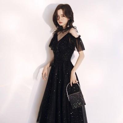 黒ドレス スパンコール ミモレ丈ドレス キャミ オフショルダー Aライン パーティードレス 結婚式 二次会 お呼ばれ 30代 40代 発表会ドレス