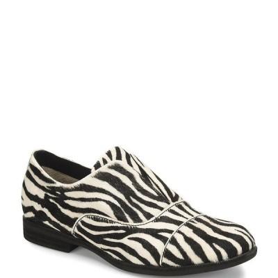 コークイース レディース サンダル シューズ Nottingham Zebra Print Calf Hair Loafers Black/White