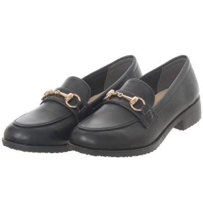 レディース 婦人靴 防水軽量ビットローファー ブラック 22.5