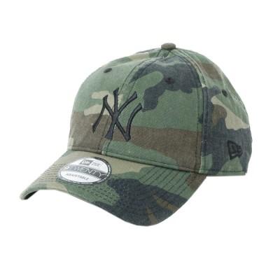 NEW ERA帽子9TWENTY Cloth Strap ウォッシュドコットン ニューヨーク・ヤンキース ウッドランドカモ×ブラック 11308519カモフラージュ