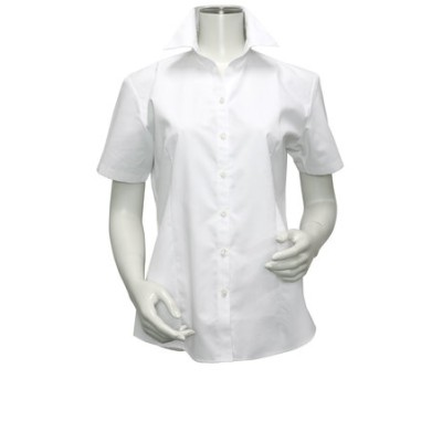 レディース ウィメンズシャツ 半袖 形態安定 スキッパー衿 白無地・ブロード(透け防止)