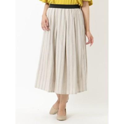 【大きいサイズ】【LL展開】ゆったりサイズ!ストライプスカート 大きいサイズ スカート レディース