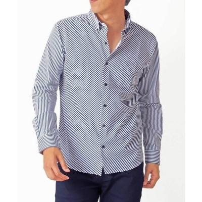 シャツ ブラウス 日本製 バイアス ストライプ ボタンダウンシャツ