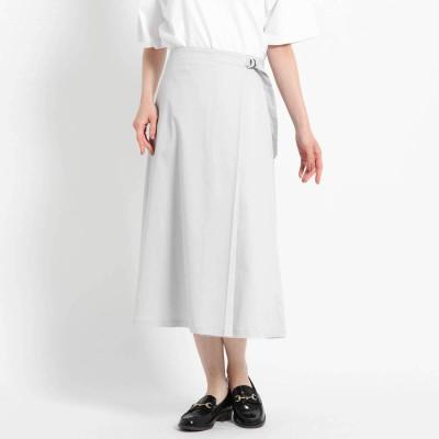 デッサン Dessin 【S~Lサイズあり・洗える】タックベルトミモレスカート (ライトグレー)