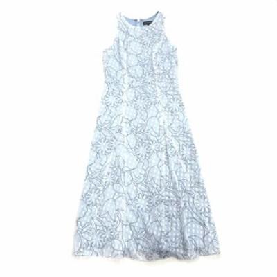 【中古】バナナリパブリック BANANA REPUBLIC 刺繍 総柄 シフォン ノースリーブ ドレス ワンピース カットソー 0