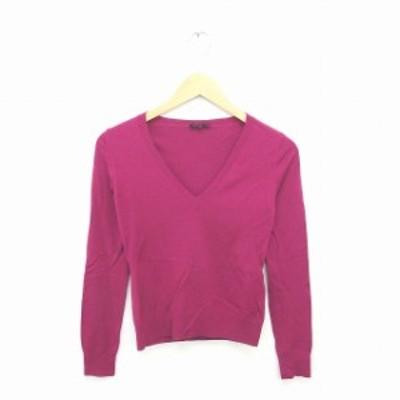 【中古】セオリー theory ニット セーター Vネック 無地 シンプル ウール 長袖 2 紫 パープル /TT47 レディース