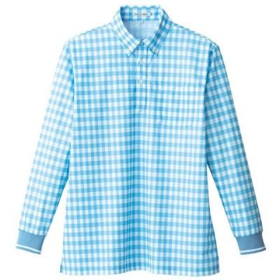 ボンマックス チェックプリントポロシャツ(長袖) 男女兼用 ブルー LL FB4536U(直送品)