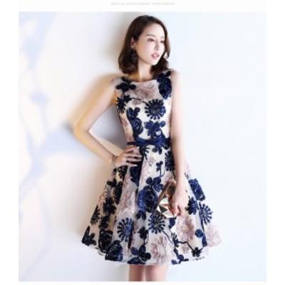 春ワンピース 刺繍 エレガンス パーティー 結婚式 ドレス お呼ばれ 二次会 同窓会 リボン Vネック
