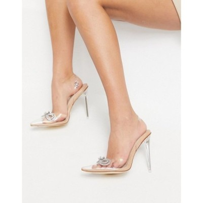 シミシューズ レディース ヒール シューズ Simmi London Karoline high heels with rhinestone bow in beige Beige