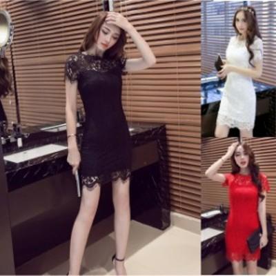 ミニドレス パーティードレス ミニ ドレス ワンピース 総レース 袖あり 半袖 大きいサイズ ブラックドレス