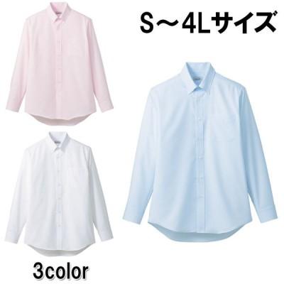 吸水速乾メンズ長袖シャツ 3色 6サイズ ストライプ ブルー ピンク ホワイト S M L LL 3L 4L メンズ 男性 【FACEMIX】