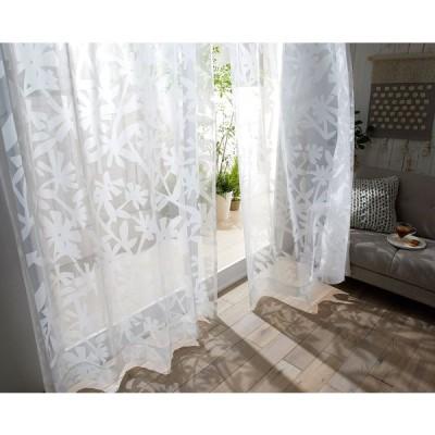 DESIGN LIFE 北欧デザイン レースカーテン(1枚)KUCHINASHI VOILE クチナシボイル(100×133)ウォッシャブル 国産 日本製 スミノエ