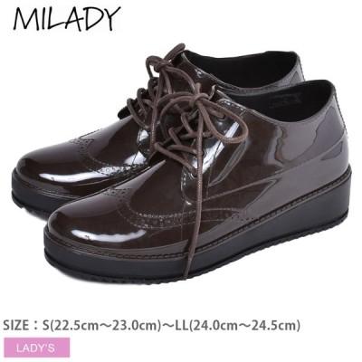 (30%以上OFF) レインシューズ レディース プラットフォームレインシューズ 茶 ブラウン シューズ 靴 雨 雨の日 モード ミレディ MILADY ML585
