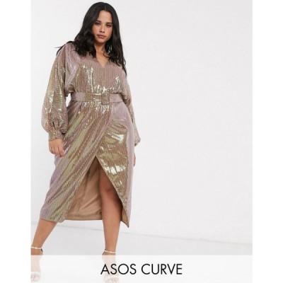 エイソス ASOS Curve レディース ワンピース ミドル丈 ASOS DESIGN Curve midi dress with blouson sleeve and belt in irridescent sheet sequin