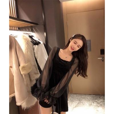 💖 韓国ファッション  2019新品  大人気  春夏  新着  レトロ  長袖  ランタンスリーブ  レースアップ 引き紐  スリム  ドレス