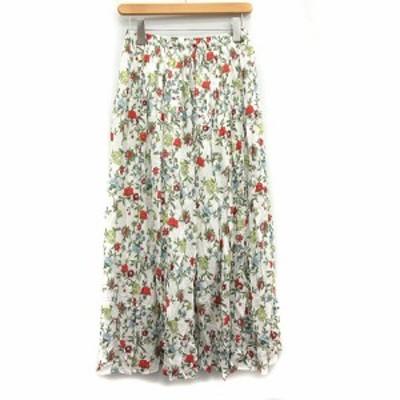 【中古】スピック&スパン Spick&Span 18SS スカート フレア ミモレ ロング 花柄 38 白 ホワイト 赤 レッド レディース