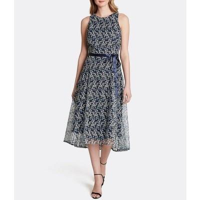 タハリエーエスエル  レディース ワンピース トップス Embroidered Lace Sleeveless Hi-Low Midi Shift Dress