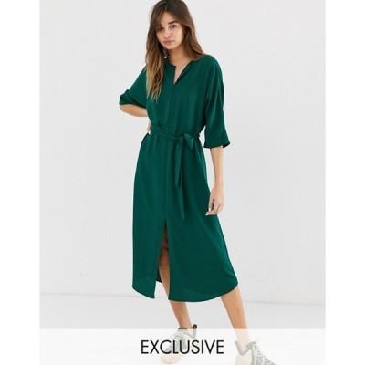 モンキ レディース ワンピース トップス Monki belted midi dress with front slit in dark green