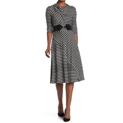 ロビービー レディース ワンピース トップス 3/4 Sleeve Stripe Dress BLACK GREY