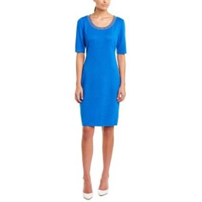 セントジョン レディース ワンピース トップス St. John Wool-Blend Sweaterdress blue