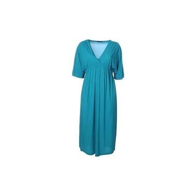 ドレス ワンピース Melissa Masse Melissa Masse 3702 レディース ブルー Jersey 半袖 カジュアル ドレス Plus 3X BHFO